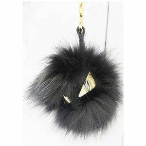 FENDI Monster Bag Bugs Fur Charm Black